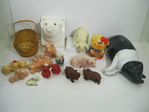 LARGE COLLECTION LOT OF ASSORTED PIG FIGURINES 18 PIECES LOOK VINTAGE...