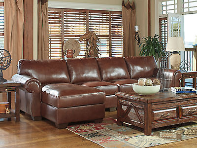 HELENA Large Brown Leather Living Room Furniture Sofa Couch Chaise Sectional Set