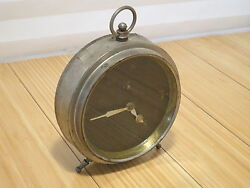 Vintage Silver Alarm Clock Dark Face For Parts Repair Prop Etc.