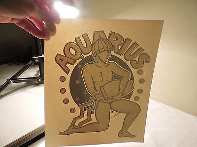 Aquarius Iron On T-shirt Heat Transfer Vintage Zodiac Sign Glitter Design 76a