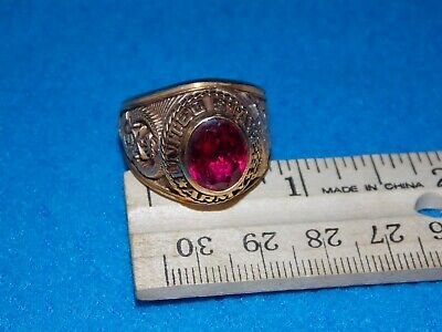 VINTAGE - ARMY DESERT STORM MEN'S RED STONE RING Size 9 - NOS- ALPHA BRAND