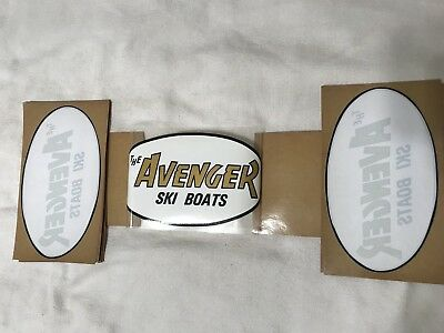 (PAIR) Vintage Late 1970's The Avenger Ski Boats Stickers