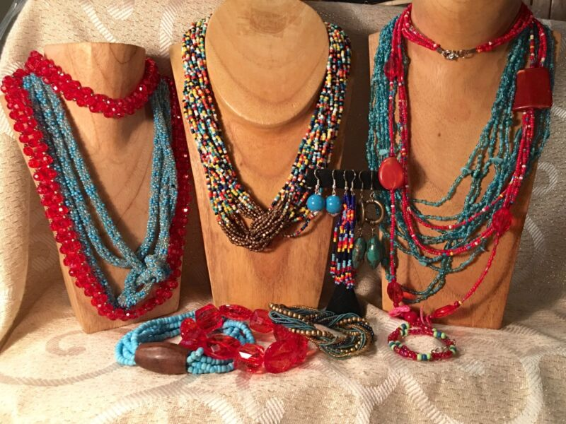 AQUA/RED SW Jewelry Lot•Vtg-Now•Seed Beads•Necklace*Bracelet*Earring •Boho  a66
