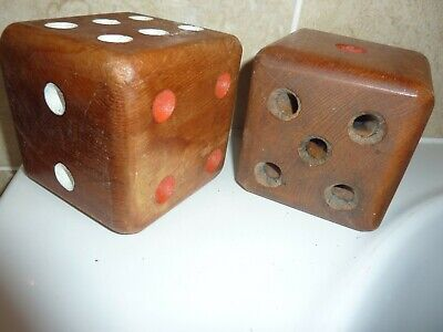 2 WOODEN 9.5CM SQUARE SIDED DICE WITH PAINTED RED,WHITE & HOLE NUMBER DOT DESIGN