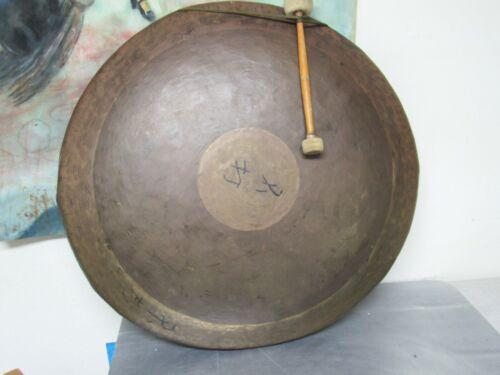 "Large Antique/ Vintage 32"" Chinese BRASS GONG Chau Gong Bullseye"