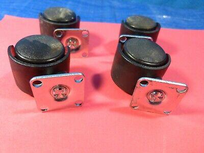 4 Pack 1 Low Profile Black Swivel No Brake Mini Plastic Caster Wheels