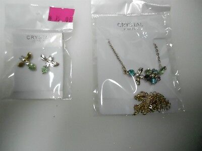 Genuine Stone Necklace Set -  #18203) QUALITY MULTI COLORED GENUINE STONE CRY FLORAL NECKLACE & EARRING SET