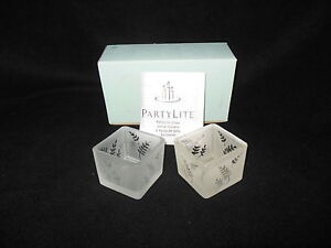 Partylite Square Pair Frosted Fern Votive/Tealight Candle Holders P7235 - NIB