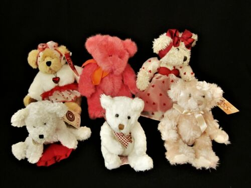 Lot of 6 Pink & White Valentine Collector Plush Bears, 5 Russ,1 Boyd