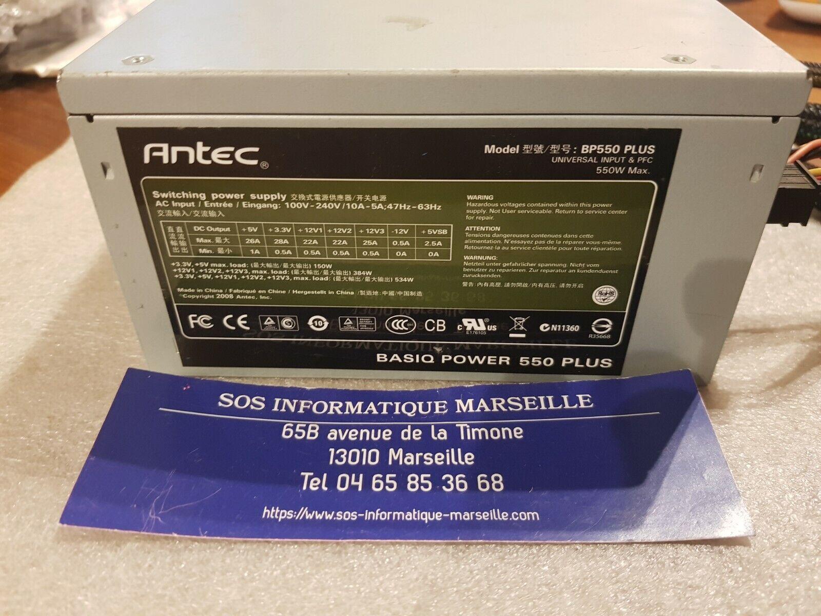 Bloc alimentation 550w pc bureau antec bp550 plus