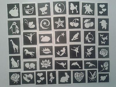 50 x Mädchen Themen mini kleine Schablonen für Kinder Glitter Tattoo