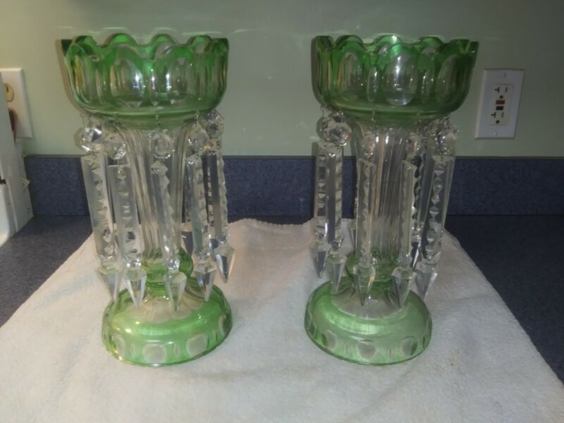 Rare Green Cut Glass Victorian Mantle Lusters