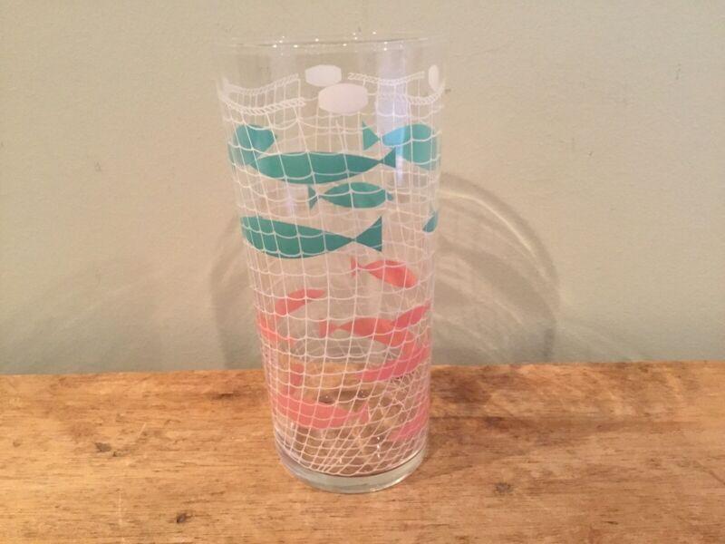 Vintage Libby Mid Century Modern Atomic Fish Pink & Turquoise Glass Tumbler