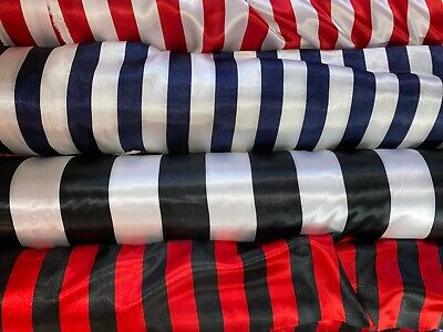 4th Of July Sale! Stripe Satin Charmeuse Fabric 60