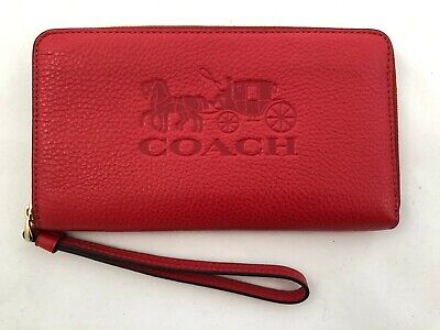 New Authentic Coach F75908 Pebble Leather Large Phone Wallet Wristlet Bright Red
