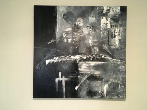 "Original Modern Abstract Acrylic Painting Contemporary Wall Art B&W 30""x30"""
