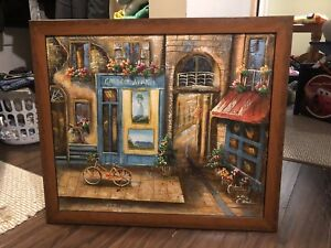 Painting on canvas in wood frame