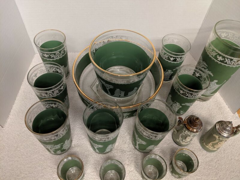 Vintage Jeanette Glasses Jasperware Green White Roman Greek