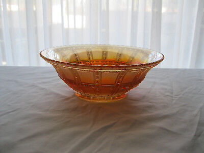"Imperial 'Frosted Block' Marigold Carnival Glass Bowl - 7 1/4"" dia X 2 1/2"" tall"