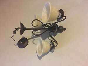 3 light brown and cream chandelier/ luminaire