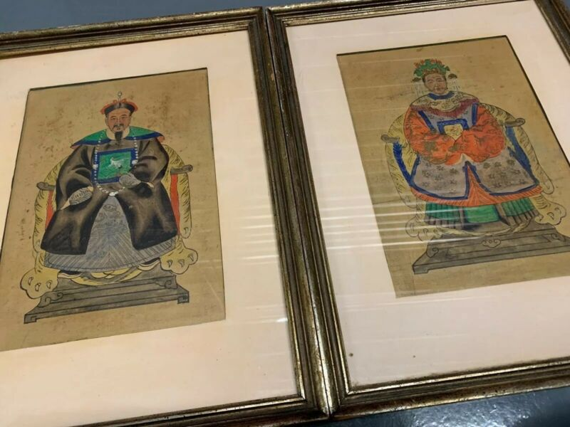"""Pair Chinese Mixed Media Ancestor Portraits On Paper, 19th C, 10"""" X 7"""" Ea."""