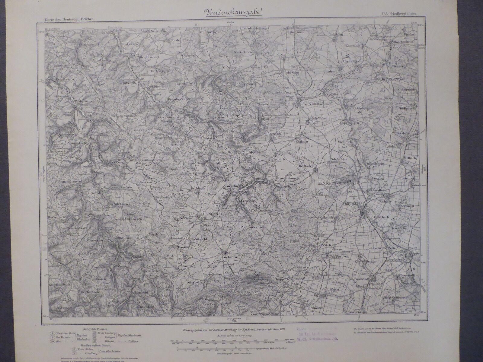 Karte des Deutschen Reiches 485 Friedberg in Hessen, Bad Nauheim, Usingen, 1912