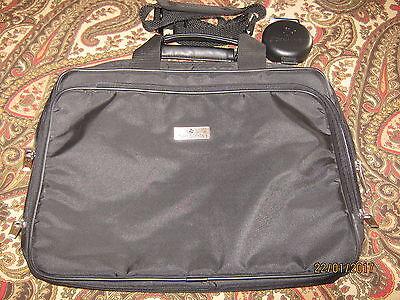 "Samsonite Portfolio Briefcase / Messenger Bag BLACK 16"" & SAMSONITE Travel Clock"