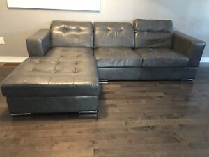 Modern Grey Leather Sectional with ottoman
