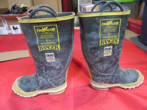 FireWalker Ranger MENS  5M  Firefighter Turnout Gear Rubber Boots Steel Toe