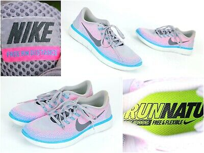 Nike Free RN Distance Womens Running Shoes Size 9 Gray Pink 827116-006