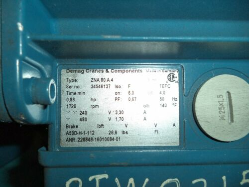 DeMag, .88HP, 1720 RPM, 240v, Model ZNA80A4