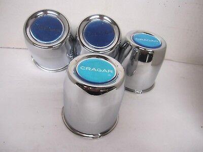 4  CHROME STEEL CENTER CAPS FOR 5 LUG CRAGAR  SST WHEELS 3 1/8 OD W//BLUE VINTAG