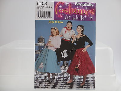 Simplicity 5403, Costumes for Adults, Misses' Poodle Skirts Pattern Sizes 6-12](Poodle Skirts For Adults)