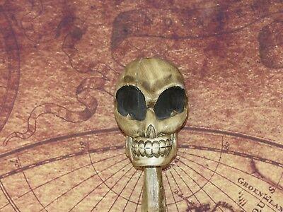 Vintage 5' Ft Folk Art Carved Wood Walking Stick w/ Alien Head - Halloween Prop