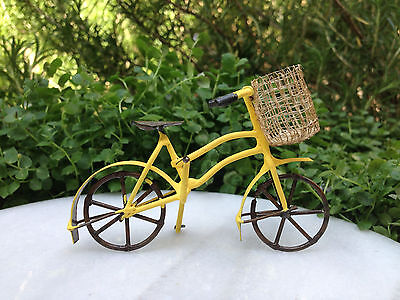 Miniature Dollhouse FAIRY GARDEN ~ Small Rustic Yellow Metal Bicycle with (Small Miniature)