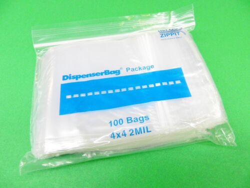 """100 Reloc Zippit Bags 4x4 Square Reclosable Clear Poly 2mil Zip Seal Lock 4""""x4"""""""