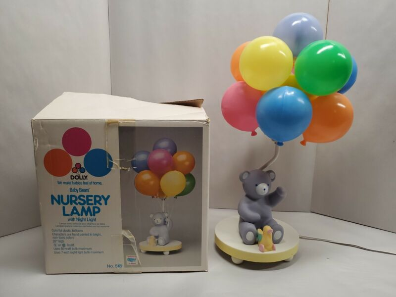 Dolly Baby Bears Nursery Lamp with Night Light Colorful Balloons