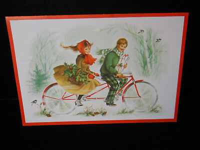 VTG Red Farm Studios Christmas Card Adorable Couple Riding Bike/Bicycle For Two