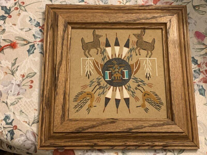 Vintage Navajo Sand Painting Sun Shield w/ Animals Framed & Signed Handmade Art