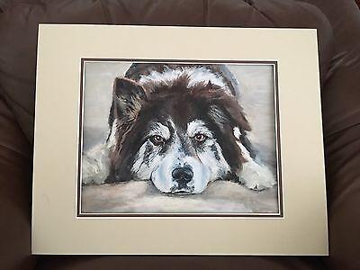 Original Oil Painting BORDER COLLIE UnSigned Artwork Art Dog Portrait Matted