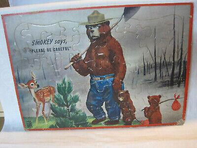 Vintage Smokey the Bear children's puzzle, Milton Bradley