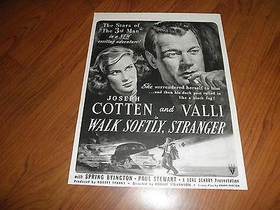 "JOSEPH COTTEN.""Walk Softly,Stranger""-Movie Promo AD-Original Magazine Print-1950"
