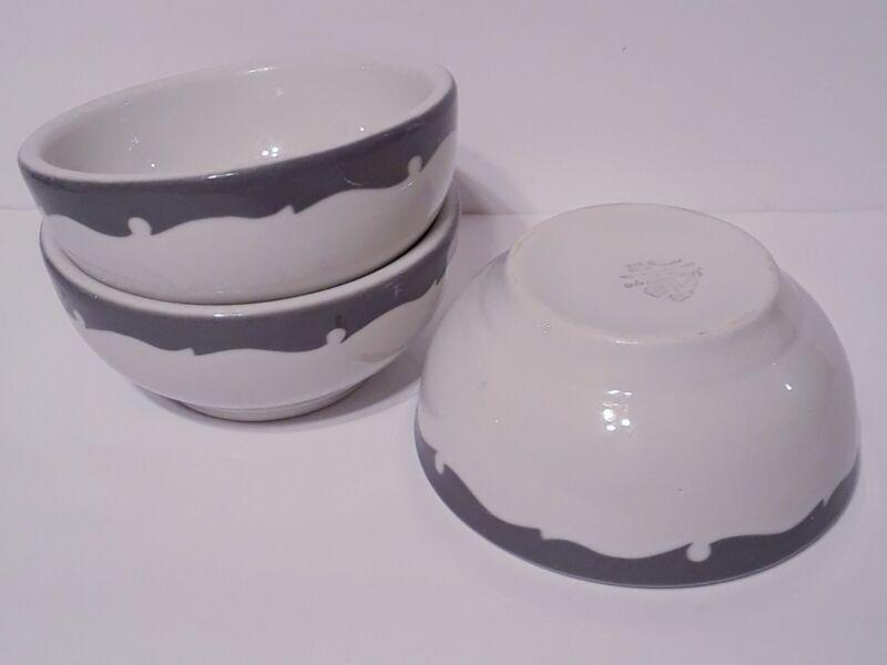 "Shenango China Grey Scroll 5"" Footed Cereal Bowls Heavy Restaurant Ware Set of 3"