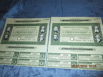135 : 2 x Wertpapier / historisch , I.G. FARBEN , März 1953 , Frankfurt , 96+97