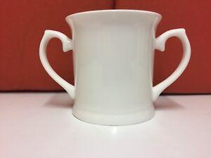 O Mug White China Two Handle