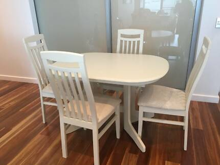 White 4 Seater Dining Table + Chairs -  Pick up Hope Island, QLD