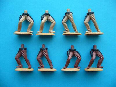 8 Cowboyunterteile / Timpo Lot Cowboy Unterteile - Farben: 4x braun und 4x beige