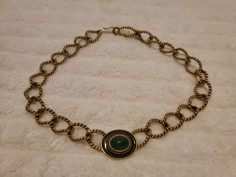 Vintage YVES SAINT LAURENT Goldtone Green Glass Stone YSL Choker/Necklace 16""