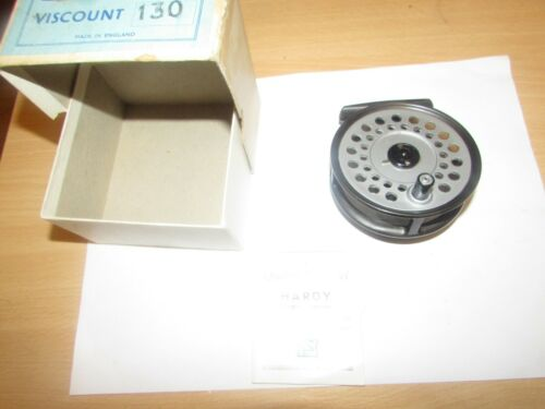 """excellent vintage hardy alnwick viscount 130 trout fly fishing reel 3.25"""" + box"""