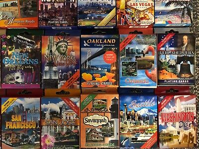 US Cities Collection- 36 Decks- Souvenir Playing Cards Casino Quality FREE SHIP